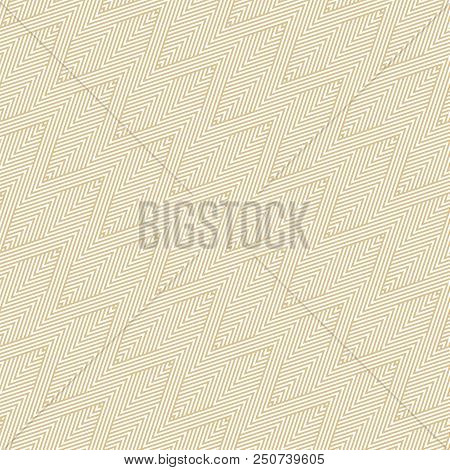 Golden Vector Geometric Lines Seamless Pattern. Texture With Zigzag Stripes, Thin Diagonal Lines. Ab