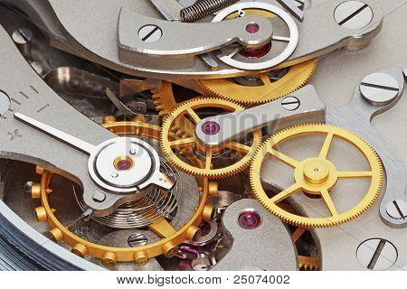 Close-up of metal clock works.