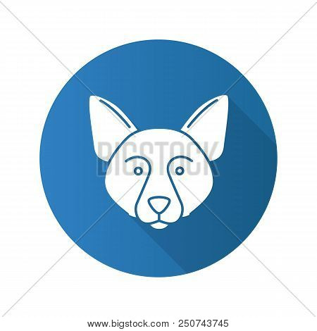 Border Collie Flat Design Long Shadow Glyph Icon. Scottish Sheepdog. Vector Silhouette Illustration