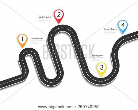 Road Way Location Infographic Template With Pin Pointer. Winding Road On A Colorful Background. Styl