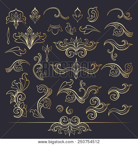 Set Of Isolated Plant With Leaves Decorations. Italian Flourish Baroque Ornate For Wedding Or Christ