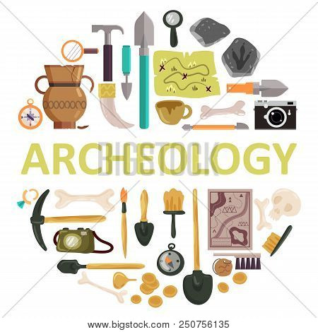 Archaeology Icon Set With Archeology Lettering. Vector Illustration Of Archaeological Tools, Ancient