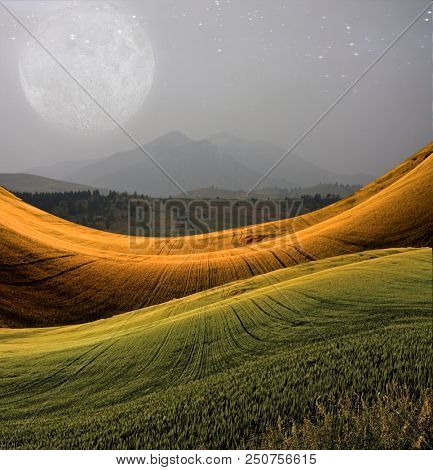 Peaceful Landscape with Mountain and Giant Full Moon. 3D rendering