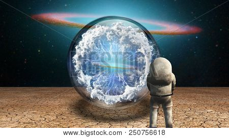 Surrealism. Astronaut stands in arid land before crystal ball with electricity charge and clouds. 3D rendering