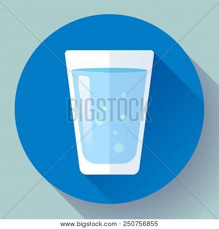 Glass Of Water Icon Flat Design. Clear Water Glass Icon. Save The Water. Drink Water Every Day