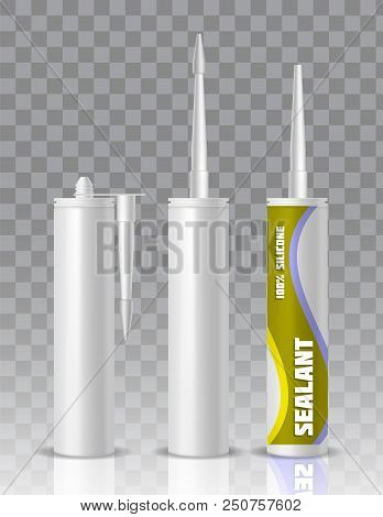 Silicone Sealant Packaging Container Tube With Nozzle Mock Up Set. Vector Realistic Illustration Iso