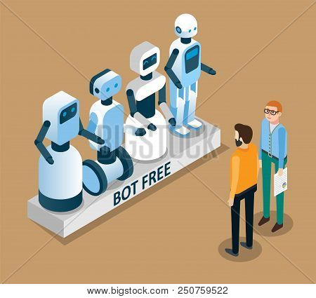 Bot Free Concept. Free Chat Bot Robot Virtual Assistance Vector Isometric Illustration.