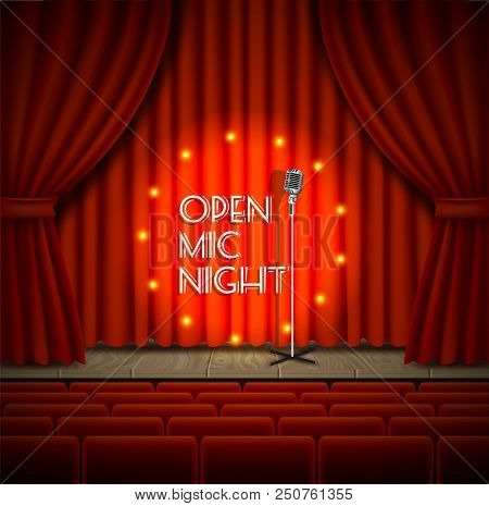 Open Mic Night Live Show Background. Vector Realistic Illustration Of Empty Theater Stage With Red C
