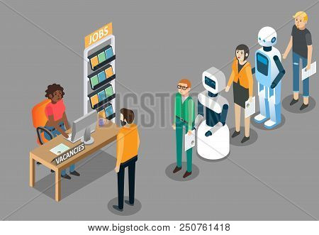 Robot Jobs Concept Vector Isometric Illustration. Ai Revolution In Employment. Robots Waiting In Lin