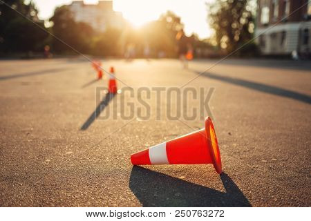 Fallen cone on training ground, driving school