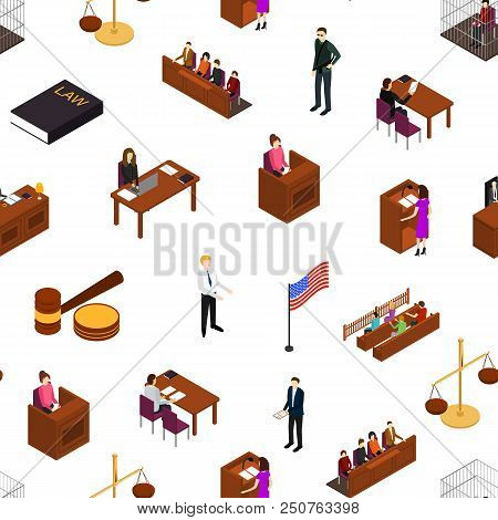 Court Seamless Pattern Background On A White Law And Justice Concept 3d Isometric View Include Of Ju