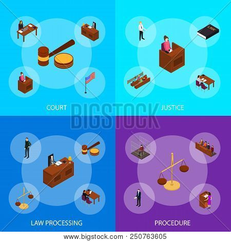 Court Session Law And Justice Concept Banner Set 3d Isometric View Include Of Judge, Lawyer, Jury, D
