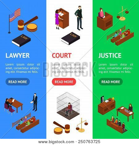 Court Session Law And Justice Concept Banner Vecrtical Set 3d Isometric View Include Of Judge, Lawye