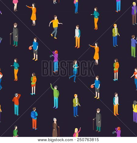 People Characters Seamless Pattern Background Isometric View Different Types Social Man And Woman Fo