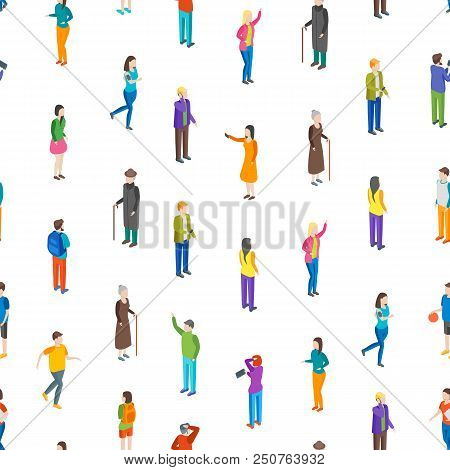 People Characters Seamless Pattern Background On A White Isometric View Different Types Social Man A