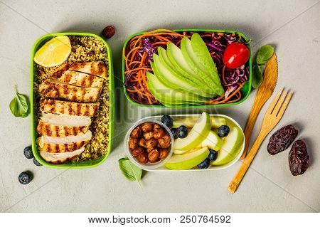 Healthy Meal Prep Containers: Couscous With Grilled Chicken Breast, Salad, Avocado, Berry, Apple, Nu