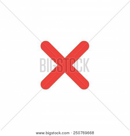 Flat Design Style Vector Illustration Of Red X Mark  Icon On White Background.
