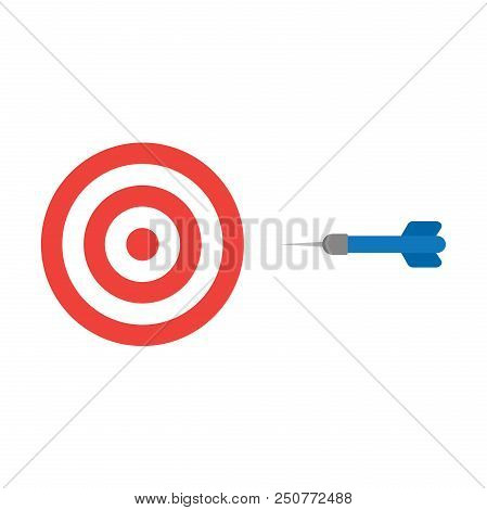 Flat Design Style Vector Illustration Concept Of Red And White Bullseye With Blue Dart Icon On White