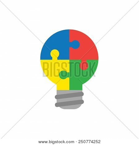Flat Design Style Vector Illustration Concept Of Lightbulb-shaped Blue, Red, Yellow And Green Jigsaw