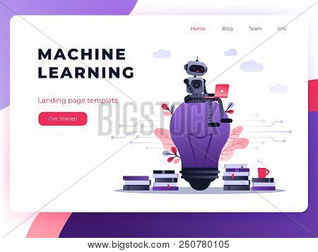 Machine Learning Algorithm Concept With Artificial Neural Network, Deep Learning. Robot With Laptop