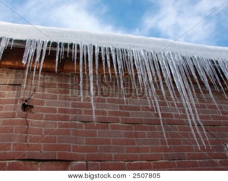 Icicles And Unique Brick