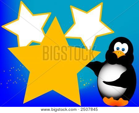 Cartoon Penguin With Stars