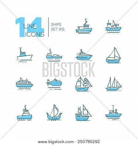 Water Transport - Thin Line Design Icons Set. Tugboat, Dredging Vessel, Sailing Yacht, Self-propelle