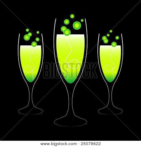 Three green alcoholic cocktails.
