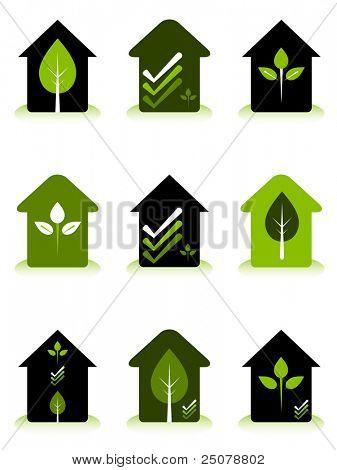 Green house conceptual logos representing environmentally friendly home design and construction.