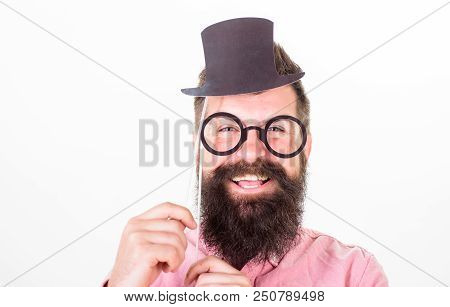 Man Bearded Hipster Hold Cardboard Top Hat And Eyeglasses To Look Smarter White Background. Dress Af