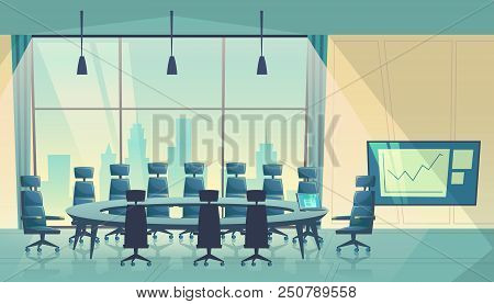 Vector Conference Hall For Meeting, Board Of Directors. Business Boardroom, Working Process. Room Fo