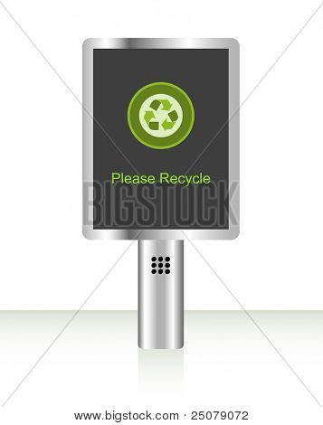 """Digital signboard displaying """"Please Recycle"""" message."""