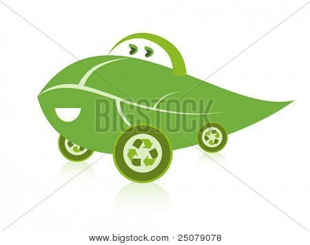 A happy green leaf environmentally friendly car design featuring recycling symbol as wheel covers