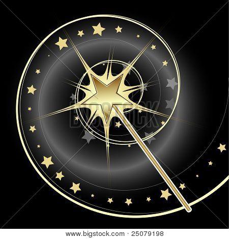 Magical golden star wand casting a spell.