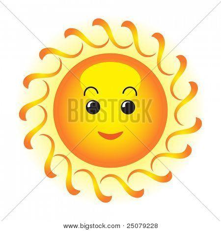 Cute happy orange sun face.
