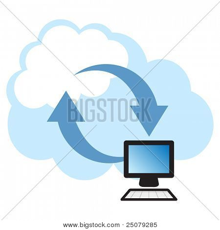 Cloud computing concept. Client computer synchronizing data with the