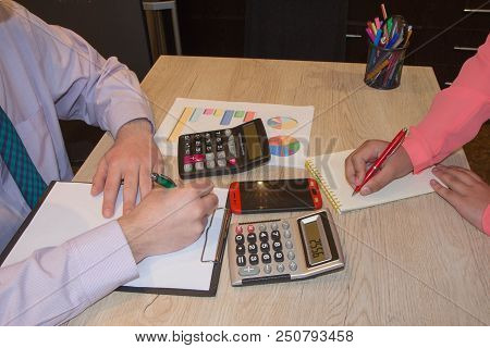 The Calculators, Business Owners, Accounting And Technology, Business, Calculator And Documents In T