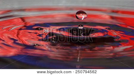 A Drop Of Water Above Water Surface - Water Splash