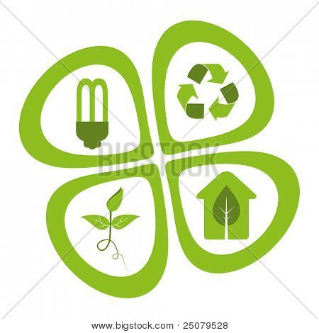 Green eco friendly design elements - energy saving light bulb, recycle symbol, green seedling, green house.