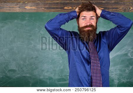 Teacher etiquette tips modern education professional. Man bearded teacher or educator hold head chalkboard background. Teacher behaves unprofessionally. Pay attention to your behaviour and manners. poster