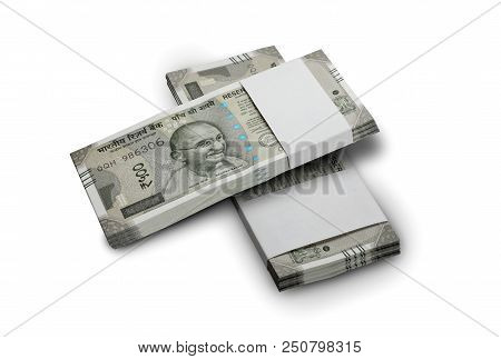 Indian Currency Rupee 500 Bank Notes Bundle On White Background