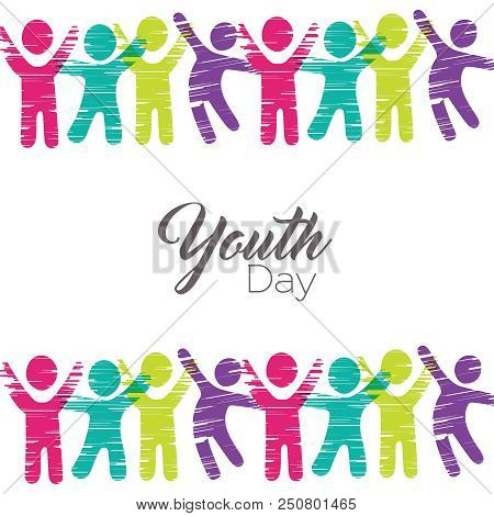 Happy Youth Day Greeting Card Illustration. People Icons In Diverse Colors Made Of Multicolor Grunge