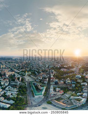 Panorama Of The Center Of Kiev City At Sunset. View Of St. Sophia Cathedral