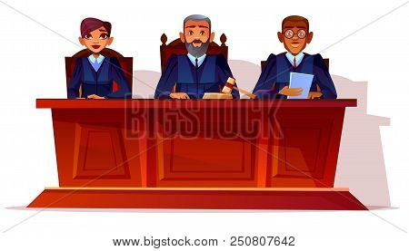 Judges At Court Hearing Vector Illustration. Prosecutor And Legal Secretary Woman Or Assessor And Bl