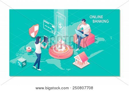 Online Banking For Website Banner.accounting, Banking, Finance Online Concept