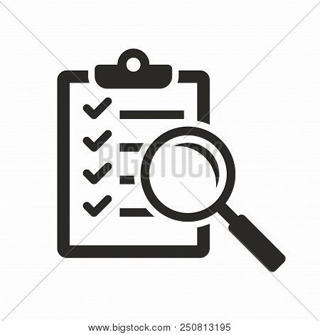 Magnifier Assessment Checklist. Vector Icon Isolated On White Background.