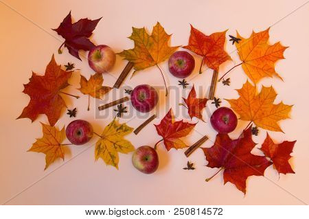 Colorful Autumn Pattern Made Of Apples, Spices And Leaves. Fall Concept.