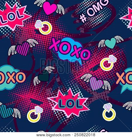 Abstract Seamless Sport Pattern For Girl And Boy. Creative Colorful Sport Wallpaper With Pop Art Com