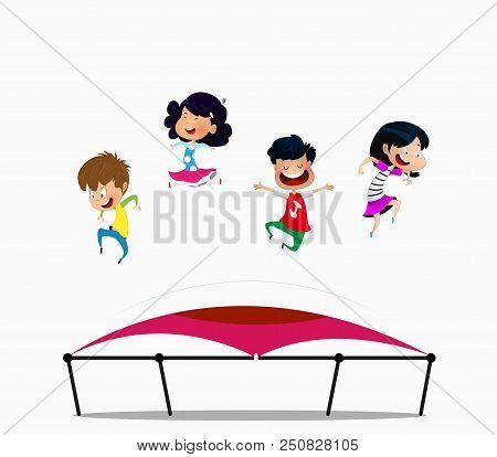 Cartoon Children Jumping On Trampoline. Vector Illustration.