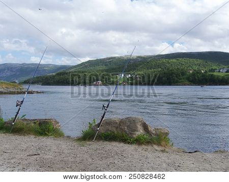 Saltstraumen Fishing The Fjords Near Bodo, Norway, Europe. A Popular Fishing Place.